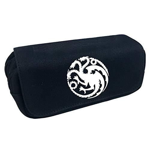 Game of Thrones Federmäppchen Bunte große Kapazität Federmäppchen Reißverschluss Dreifachtasche Leinwand Federmäppchen für Jungen und Mädchen (Color : Black04, Size : 20 X 10 X 7.5cm)