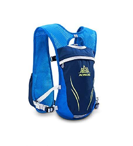 AONIJIE Mochila de hidratación 5.5L chaleco de equitación bolsa para correr maratón, ciclismo al aire libre, escalada carga móvil cartera con 2L/350ml vejiga de agua, (azul, solo bolsa)