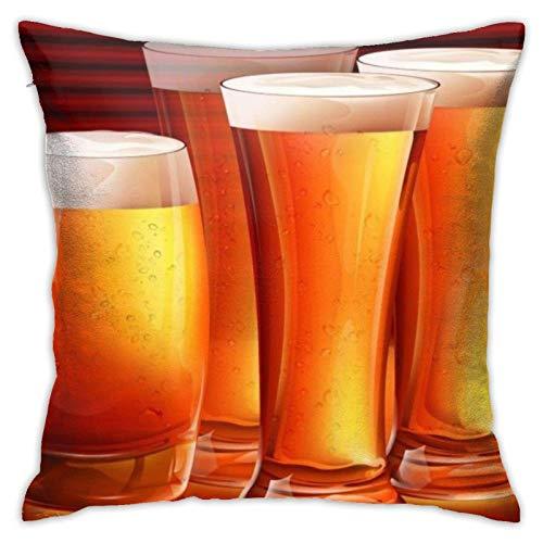 Cup Off Funda de Almohada de Cerveza Funda de Almohada Cuadrada Sofá Cama para el hogar Funda de cojín Decorativa