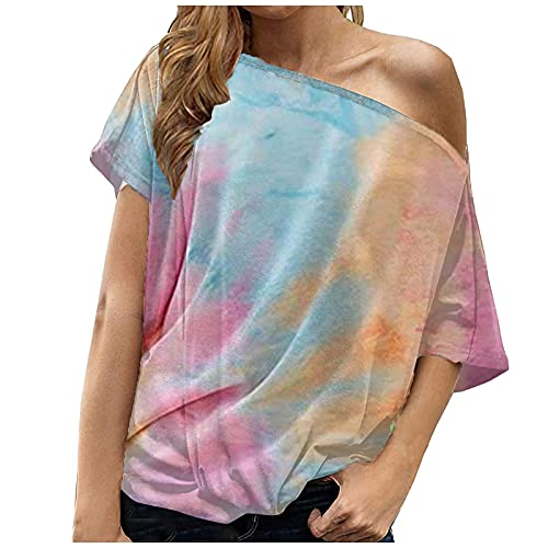 Women's Off Shoulder Tops T-Shirts Casual Short/Long Sleeve Boat Neck Blouse Loose Tunics Pink