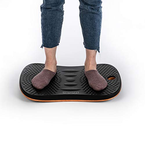 Matladin Upgraded Premium Standing Desk Anti-Fatigue Active Wooden Wobble Balance Board, Ergonomic Floor Mats for Long Periods of Standing/Stand Up Desk/Gym/Stability/Foot Rocker Leg Exerciser