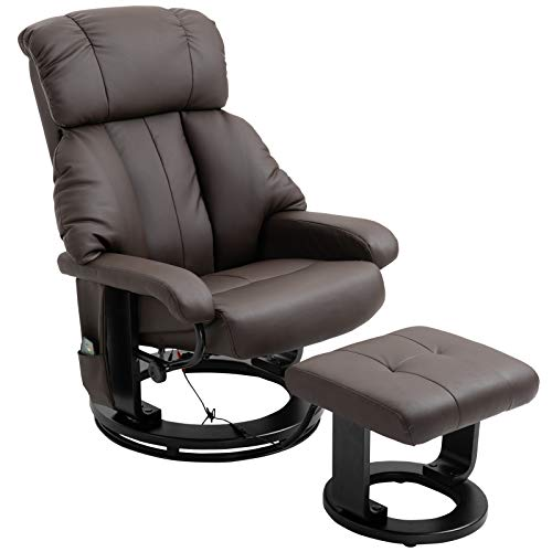HOMCOM Heated Sofa Reclining Armchair PU Leather Massage Swivel Recliner Chair and Ottoman with Bentwood Base - Brown