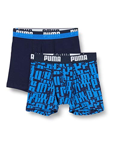 PUMA Boys All-Over Print Logo Kids' Boxers (2 Pack) Boxer Shorts, Blue, 134-140 (2er Pack)