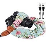 Elvam Universal Men and Women Scarf Camera Strap Belt Compatible with DSLR, SLR, Instant,Digital Camera - Retro Green Floral Pattern