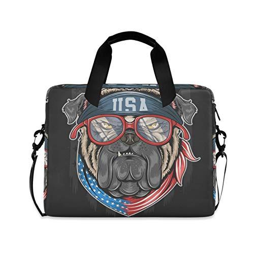 Funda Maletín Ordenador Portátiles Bolso Bandolera,Cool Dog USA,Portátil Bolso Protectora Bolsa para portátil con Ajustable Asa para La Correa,29×40 CM/15.6 Pulgada