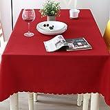chenbyyao Treillis européen de Couleur Unie Maison Rond 180cm vin Rouge,Nappe Rectangulaire Tissu Oxford Lavable Entretien Facile Résistant