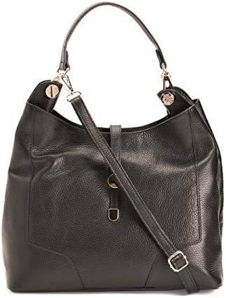Tano Italian Pebbled Leather Convertible Hobo Shoulder Bag Black