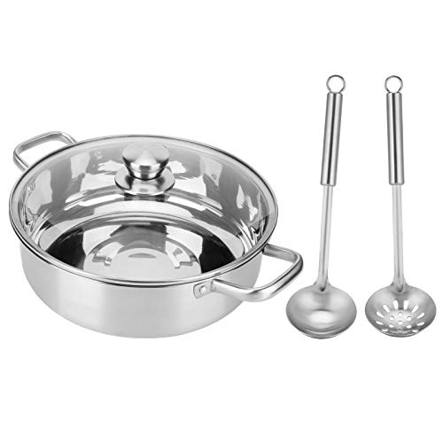 Wakects 30cm Hot Pot, Stainless Steel Hot Pot with Glass Lid and Spoon Colander, Suitable for All Induction Cookers Gas Cooker