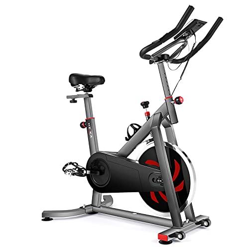HEKA Bicicleta Estatica Spinning, Bici Estatica Bici Spinning Indoor, Bicicleta Spinning Profesional Magnetica, Volante de Acero, Monitor de Frecuencia Cardíaca, Peso del Usuario de Hasta 200 kg