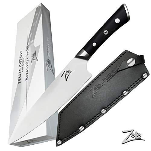 Zelite Infinity Küchenmesser 20cm – Razor-Edge-Serie – Kochmesser aus Japanischem AUS-8 Hartstahl Edelstahl – Pak-kaholzgriff und Lederscheide