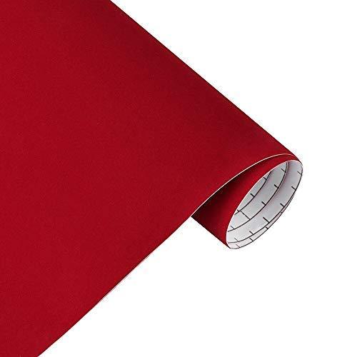 TERCIOPELO ADHESIVO FLEXIFLOCK Fiselina Flocada 45x300 CM Forro de terciopelo para cajones de joyería, manualidades y DIY (Rojo)
