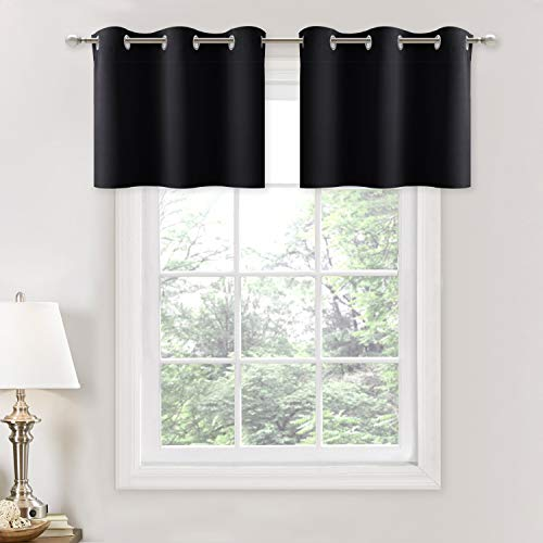NICETOWN Small Kitchen Window Curtains Valances - Thermal Insulated Home Decor Blackout Grommet Tier Curtains Drapes for Basement Window (Black, 42 inches W by 18 inches L + 1.2 inches Header,2 PCs)