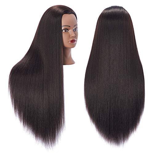 Hairingrid 26-28 Mannequin Head Hair Styling Training Head Manikin Cosmetology Doll Head Synthetic Fiber Hair and Free Clamp Holder (Yaki-Black)