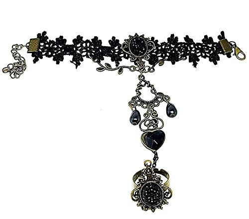 LUIDILUC Pulsera Baciamano, anillo de encaje victoriano Link gótico macramé negro