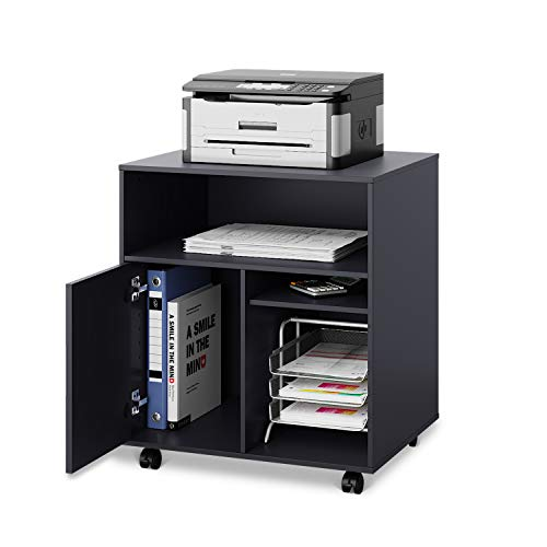 DEVAISE Mobile Printer Stand with Adjustable Shelf, Rolling Wood Storage Cabinet...