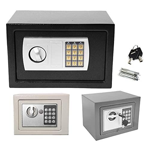 Safe Digitaler Elektronischer Tresor Sicherheitskasten Feuerfester und wasserdichter Sicherheitsschrank mit PIN-Code und Schlüssel Für Schmuck Bargeld (31x20x20cm, Grau)