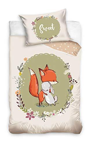 Carbotex Kleiner Fuchs Baby-Bettwäsche-Set 100x135 40x60 Baumwolle Klein-Kinderbettwäsche