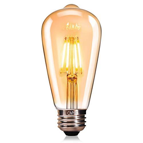 Edison Vintage Glühbirne, CMYK Edison LED Lampe E27 4W Warmweiß Antike Leuchtmitteln Retro Glühlampe Dekorative Glühbirne Ideal für Nostalgie und Retro Beleuchtung im Haus Café Bar usw