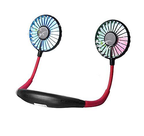 Dabuty Online, S.L. Miniventilador USB Nuevo Ventilador de Cuello con función aromatizante Ventilador Manos Libres Ventilador Personal portátil para Acampar al Aire Libre Deportivo (Negro Rojo)