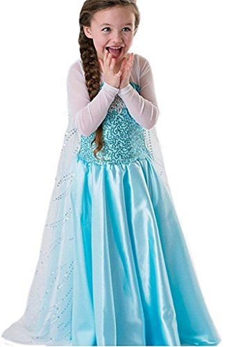 NICE SPORT Robe Princesse Reine des Neiges Frozen - Costume Enfant Fille - Princesse Elsa - Déguisement Haute Qualité - Bleu (130 cm (5-6 ans))