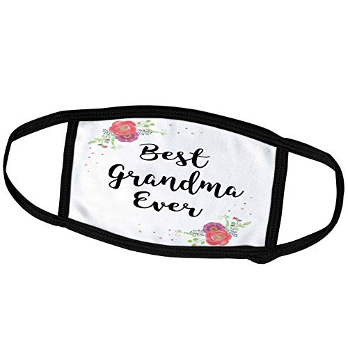 3dRose Floral Best Grandma Ever Cursive Text Pretty Watercolor Pink. - Face Covers (fc_312048_1)