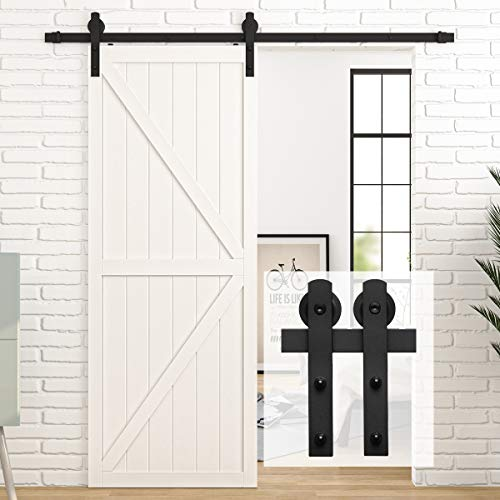 """HomLux 5ft Heavy Duty Sturdy Sliding Barn Door Hardware Kit, Single Door-Smoothly and Quietly, Easy to Install and Reusable - Fit 1 3/8-1 3/4"""" Thickness & 30"""" Wide Door Panel, Black(I Shape Hanger)"""
