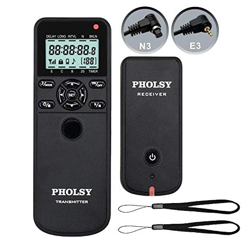 PHOLSY Wireless Timer Remote Control with Intervalometer and HDR for Canon EOS R, EOS RP, 90D, 850D, 5D, 6D II, 7D, 7D II; for Olympus E-M1X, E-M1 II, E-M1 III; for Fujifilm GFX100, XT3, XT4, XT30