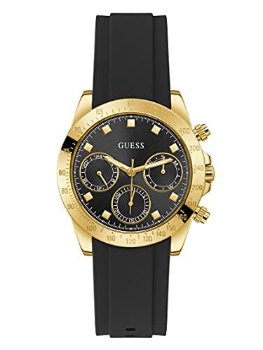GUESS Reloj de cuarzo de acero inoxidable para mujer con correa de silicona, negro, 20 (Modelo: GW0315L1)