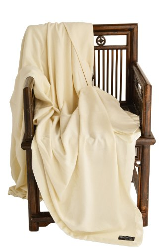 Cashmere Boutique: 100% Pure Cashmere Queen Blanket in 4 Ply (Color: Off White, Size: 90' x 90')