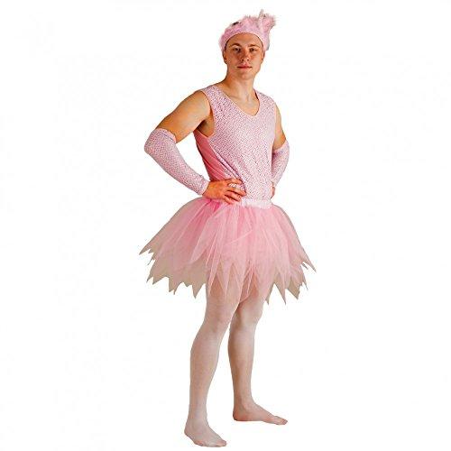 Krause & Sohn Kostüm Ballerina für Männer Body Tüllrock Armstulpen rosa Männerballett (XL)
