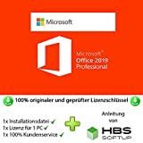 MS Office 2019 Professional Plus 32 bit & 64 bit Vollversion Multilingual - Original Lizenzschlüssel per Post und E-Mail + Anleitung von HBS SOFTUP® - Versand max. 60Min