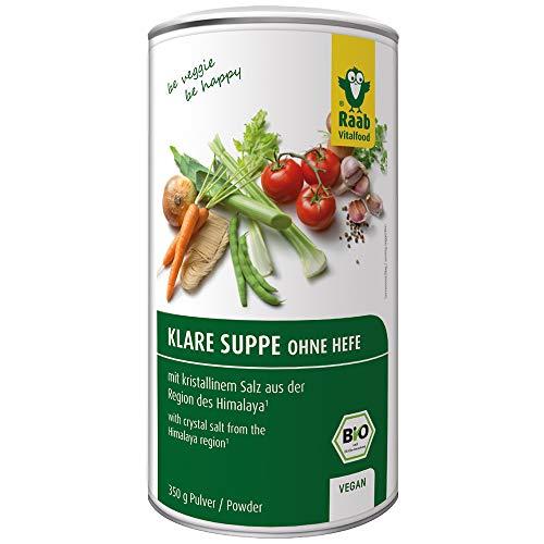 Raab Vitalfood Bio Klare Suppe ohne Hefe und Geschmacksverstärker, Gemüsebrühe, Gemüse-Brühpulver, vegan, laborgeprüft, mit Himalaya-Salz, 350 g