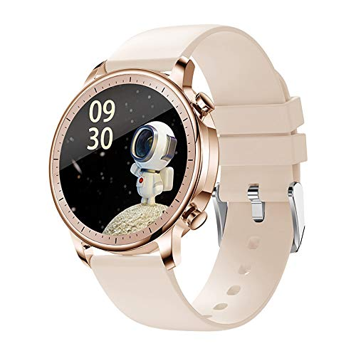 NVFED 2021New Tempere Smart Watch IP67 Impermeable Impermeable Toque Fitness Fitness Tracker Presión Arterial Mujer Smart Watch (Color : Gold)
