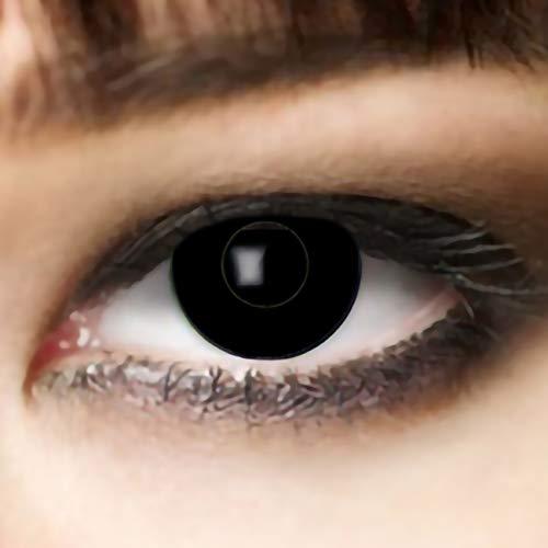 Farbige Kontaklinsen SCHWARZ für Zombie oder Vampir Kontaktlinse der Marke LEO EYES, ideal zu Halloween, Karneval, Fasching oder Fasnacht-ohne Stärke