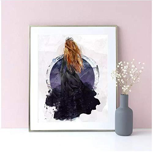 WLKQY Póster de pared con estampado de dama linda y sexy, lienzo abstracto, decoración de sala de estar, 50x70 cm sin marco