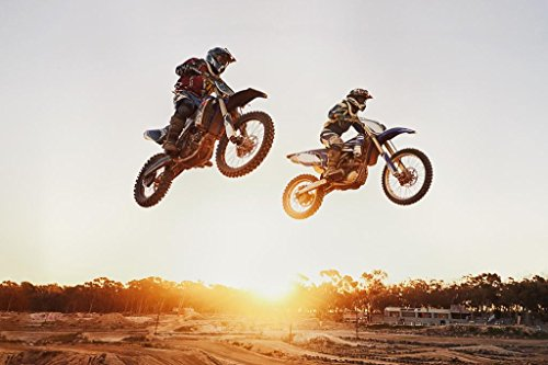 Motocross Riders Jumping Over Sunset Photo Photograph Cool Wall Decor Art Print Poster 36x24