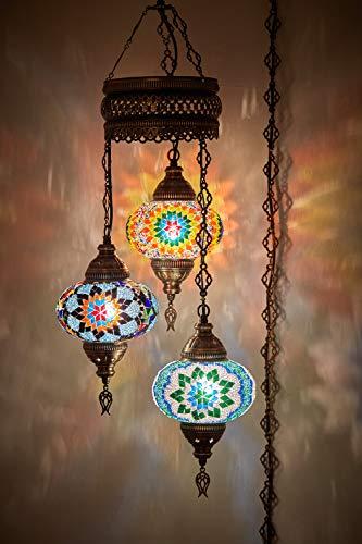 DEMMEX - Lámpara de techo colgante de mosaico turco marroquí con cable o colgante, 3 globos grandes