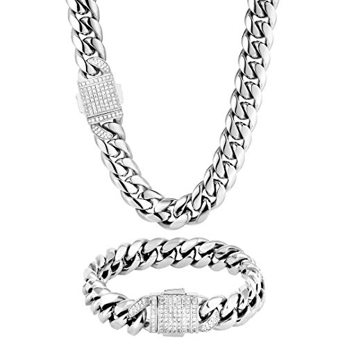 KRKC&CO Mens Hip Hop Jewelry, 12mm 18k Cuban Link Curb Chains and Bracelets, Solid No Tarnish Necklace, Durable Street-wear Hip Hop Chains for Men (20' + 7.5', Gold) (20' + 8', White Gold)