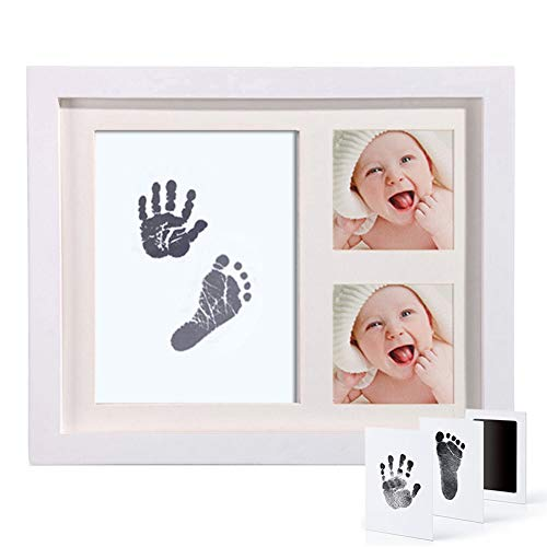 CNNIK Kit de Marco Para Manos y Huellas de bebé para niño y niña - 1 Marco de madera - 1 touchpad de tinta limpia - 2 papel de impresión - Ideal decoración o regalo de baby shower