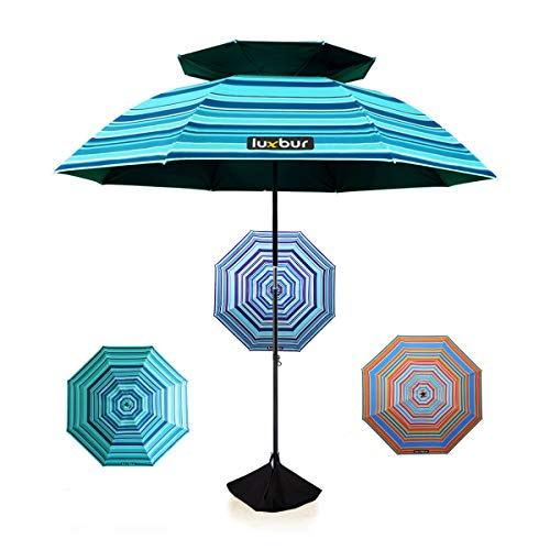 Luxbur Large Beach Umbrella with Sand Anchor, Best UV Protection and Super Windproof, 360° Tilt, Double-Layer Ventilation, Portable with Sand Bag and Shovel (6.5ft, Green)