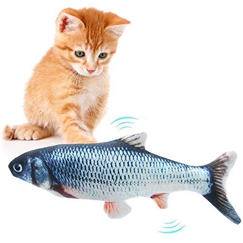 AFFINEST Juguete de Gatos Pez Eléctrico Interactivo Peluche Juguete Hierba Gatera USB Recargable Cat Fish Toys,A ⭐