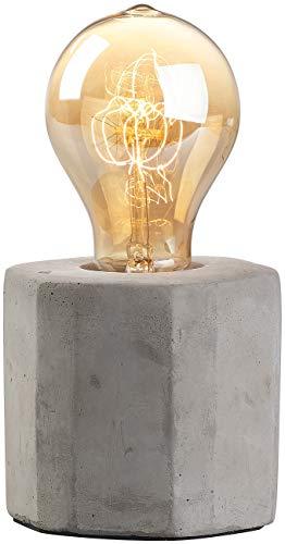 Lunartec Lampe Beton: Dekorative Beton-Tischleuchte mit gewölbter Vintage-Schmucklampe (Tischleuchte Retro)