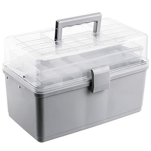 Mecotecn Medizinbox Abschließbar, 3 Etagen Faltbare Medizinbox Hausapotheke Box Medizinkoffer Aufbewahrungsbox mit Griff für Familie, Büro, Schule - Grau