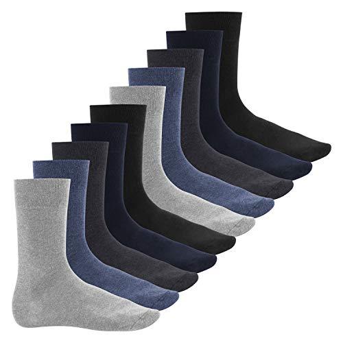 Footstar Herren Baumwollsocken (10 Paar), handgekettelte flache Spitze - Everyday! - Jeans 43-46