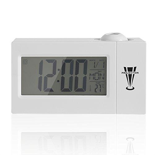 Orologio di proiezione Orologio digitale dimmerabile Sveglia con autoradio Impostazione tempo pisolino / sleep timer Temperatura interna Display giorno / data Bianco