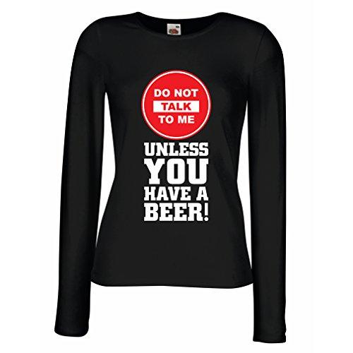 Camisetas de Manga Larga para Mujer ¡Citas de los Amantes de la Cerveza! Ideas Divertidas del Regalo del Alcohol, Ropa para la Fiesta, Camisas para Beber, Pub, refrán del Bar (Large Negro Multicolor)