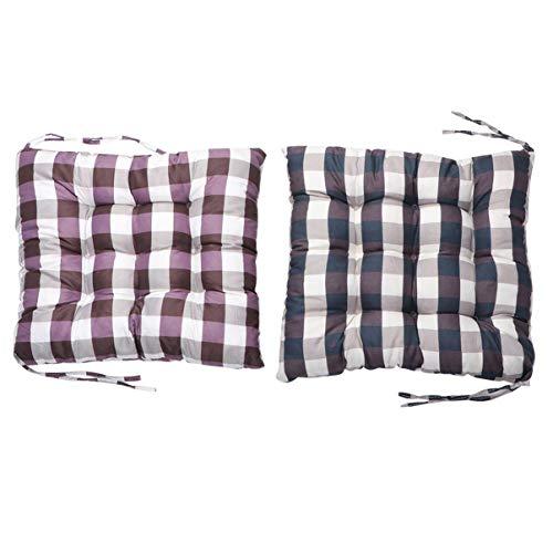 BESPORTBLE 2PCS Cartoon Seat Cushion Pad Grid Warm Seat Cushion Tatami Seat Cushion with Ties (Black + Purple)