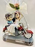 Figura GRABADA muñecos boda novios en moto harley para tarta pastel PERSONALIZADAS