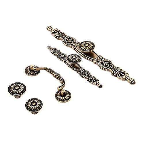 Armario Dibuje manijas 1pc Muebles de época manija de bronce antiguos del gabinete Pomos y tiradores Armario cajón de la cocina Tire la perilla for Muebles (Color : Style 4)