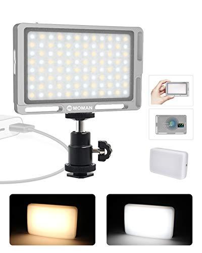 """Moman Faretto-LED-Video-Luce-Reflex con Diffusore, Fillipo LED Fotocamera DSLR 4.7"""" 147g Dimmerabile Bi-Color 3000K- 6500K, TLCI/CRI 96+, Cavo di Tipo"""
